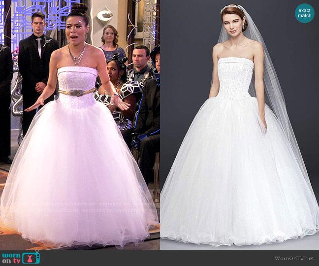 David's Bridal Tulle Wedding Dress with Beaded Satin Bodice worn by Carly Shay (Miranda Cosgrove) on iCarly