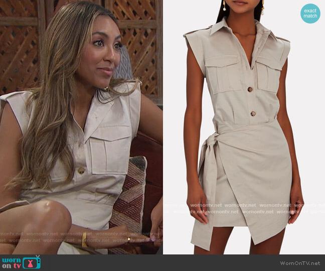 Linen-Cotton Twill Mini Cargo Dress by Derek Lam 10 Crosby worn by Tayshia Adams  on The Bachelorette
