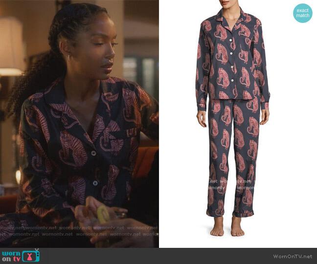 Tiger-Print Classic Pajama Set by Desmond & Dempsey worn by Zoey Johnson (Yara Shahidi) on Grown-ish