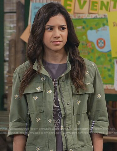 Gwen's green daisy embroidered jacket on Bunkd