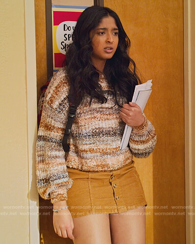 Devi's brown stripe knit sweater on Never Have I Ever