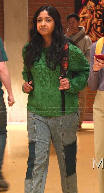 Devi's gray star print sweatshirt on Never Have I Ever