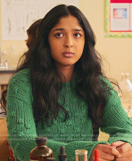 Devi's green bobble knit sweater and colorblock jeans on Never Have I Ever