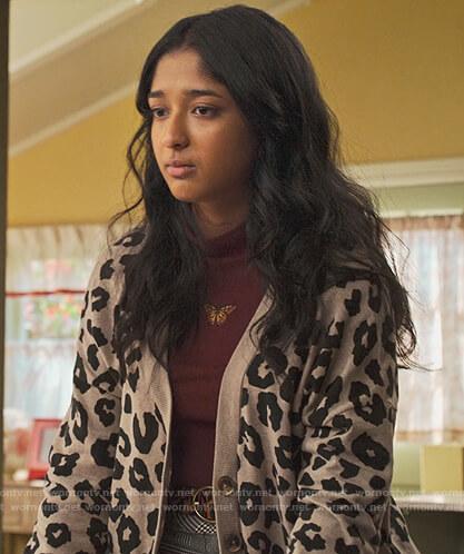 Devi's khaki leopard print cardigan on Never Have I Ever