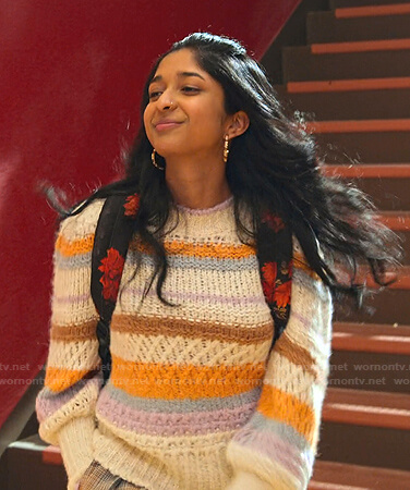 Devi's striped knit sweater on Never Have I Ever