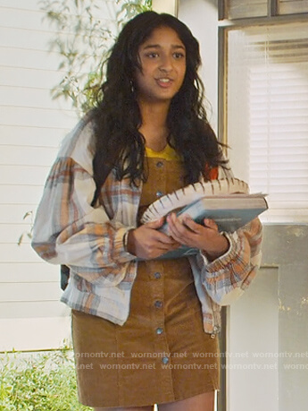 Devi's white plaid jacket on Never Have I Ever