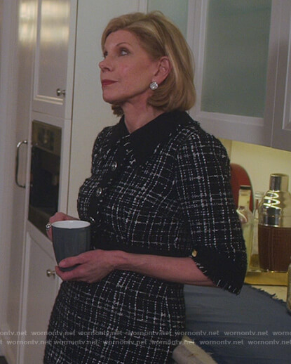 Diane's black tweed dress on The Good Fight