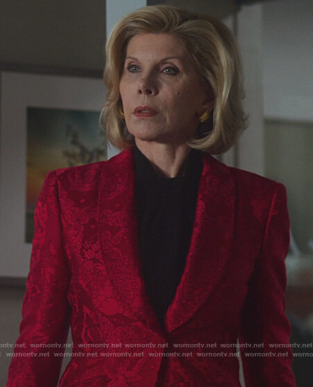 Diane's red floral jacquard blazer on The Good Fight