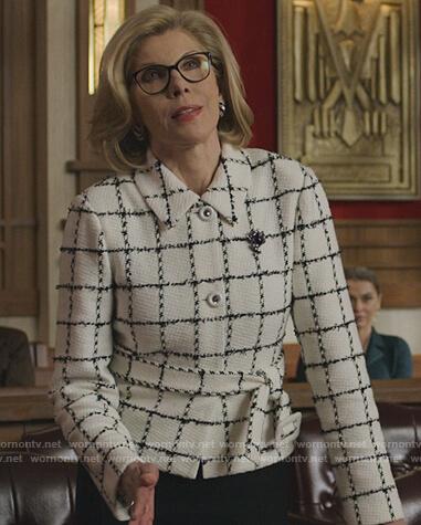 Diane's metallic check blazer on The Good Fight