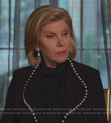 Diane's black pearl trim coat on The Good Fight
