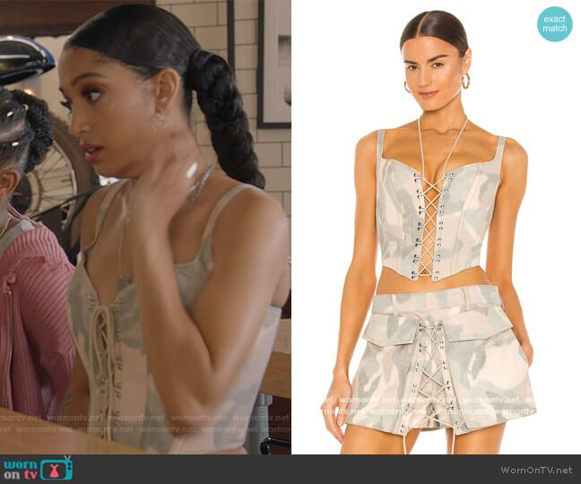 Ikat Camo Corset by Dion Lee worn by Olivia Baker (Samantha Logan) on All American