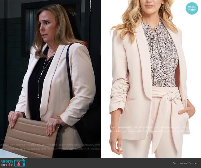 Shawl Collar Ruched Sleeve Blazer by DKNY worn by Laura Collins (Genie Francis) on General Hospital
