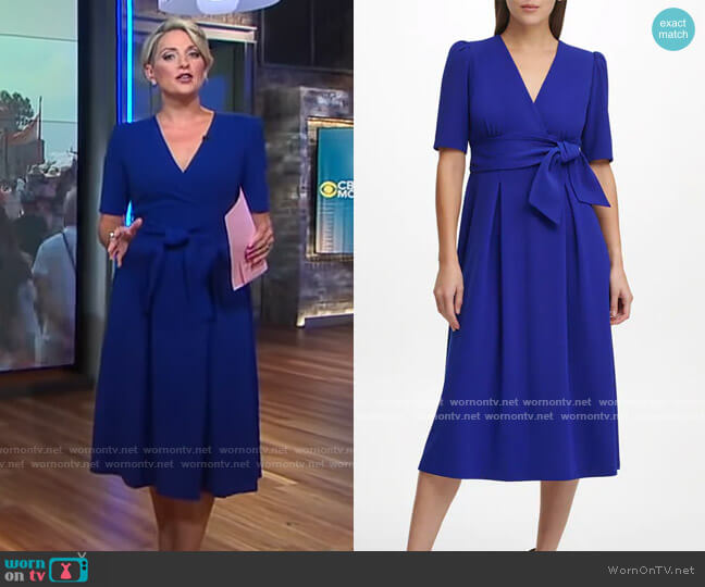 DKNY Fit and Flare Dress worn by Jamie Yuccas  on CBS Mornings