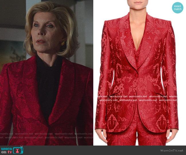 Single-Breasted Shawl-Collar Cherub-Jacquard Jacket by Dolce & Gabbana worn by Diane Lockhart (Christine Baranski) on The Good Fight