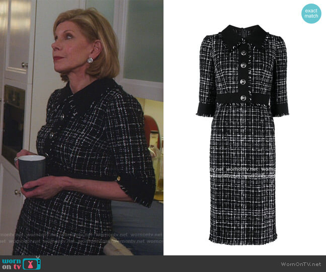 Tweed Mid Dress by Dolce & Gabbana worn by Diane Lockhart (Christine Baranski) on The Good Fight
