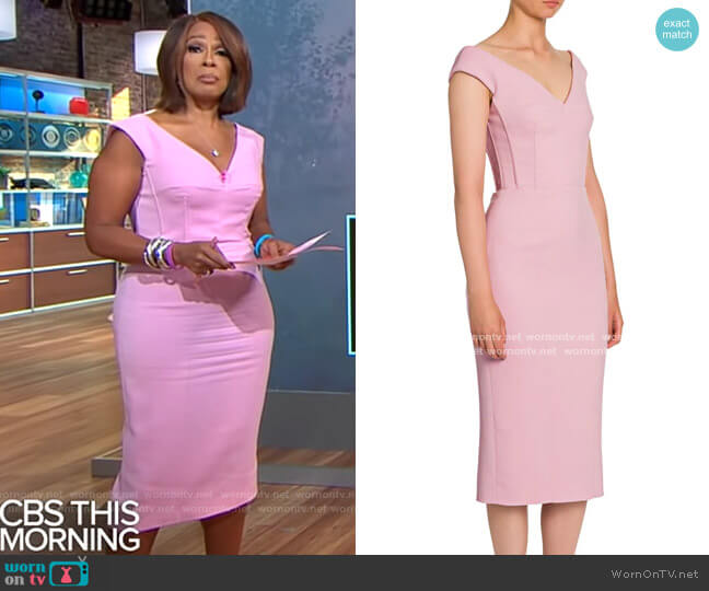 Dolce & Gabbana Double Crepe V-Neck Sheath Dress worn by Gayle King  on CBS Mornings