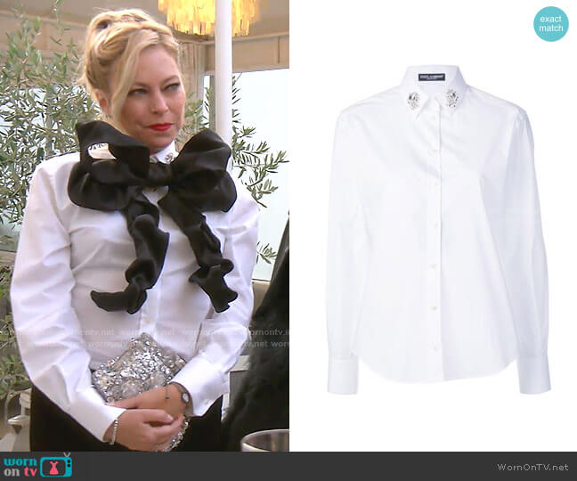 Embellished Collar Shirt by Dolce & Gabbana worn by Sutton Stracke  on The Real Housewives of Beverly Hills