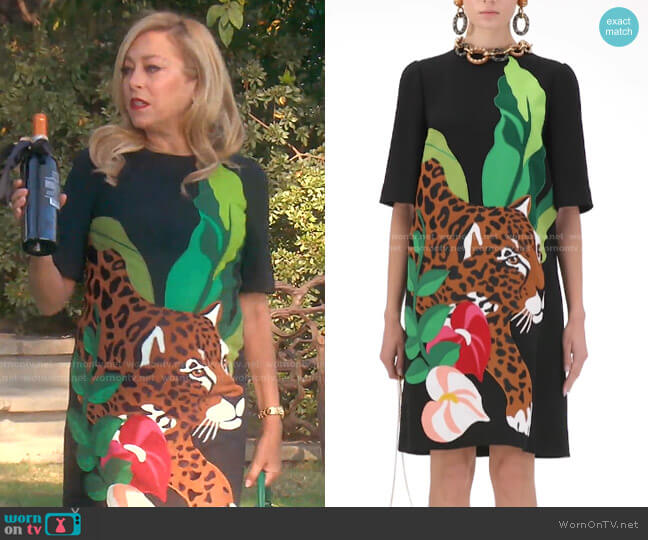 Short Dress in Cady with Leopard Patch by Dolce & Gabbana worn by Sutton Stracke  on The Real Housewives of Beverly Hills