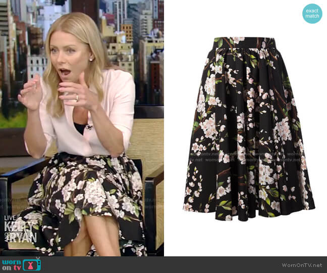 Floral Skirt by Dolce & Gabbana worn by Kelly Ripa  on Live with Kelly & Ryan