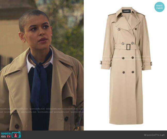 Double-Breasted Long Trench Coat by Dolce & Gabbana worn by Julien Calloway (Jordan Alexander) on Gossip Girl
