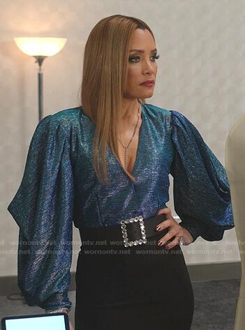 Dominique's blue metallic balloon sleeve top on Dynasty