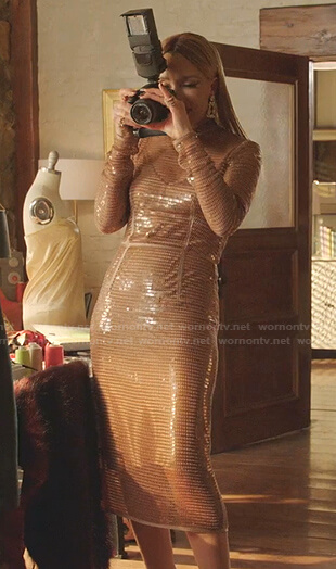 Dominique's sequin midi dress on Dynasty