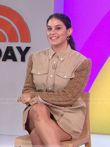 Donna's beige cable knit sleeve shirtdress on Today
