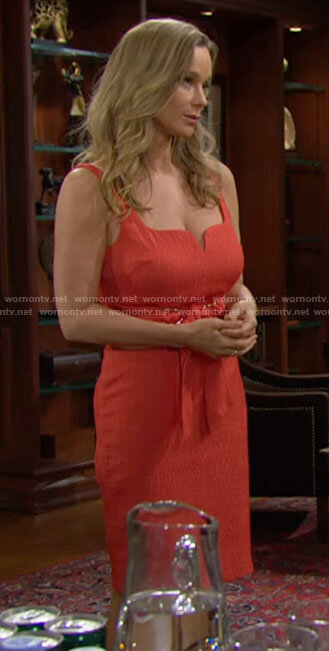 Donna's orange tie waist dress on The Bold and the Beautiful