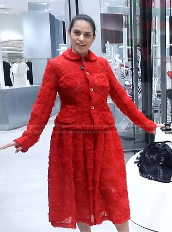 Donna's red tulle jacket and skirt on Today