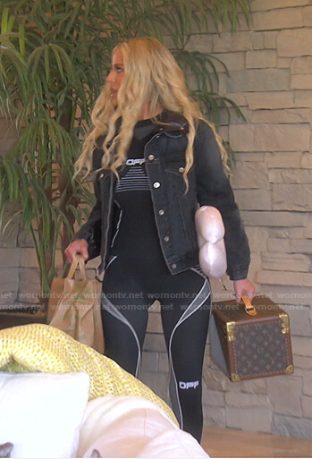 Dorit's black puffer back denim jacket and leggings on The Real Housewives of Beverly Hills