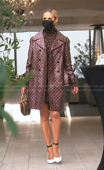 Dorit's brown monogram print dress and coat on The Real Housewives of Beverly Hills