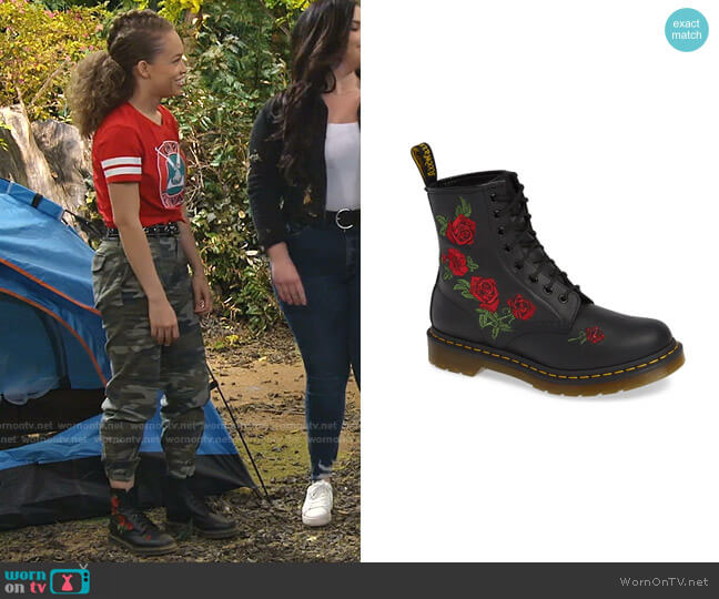 1460 Vonda Embroidered Bootie by Dr. Martens worn by Ava (Shelby Simmons) on Bunkd