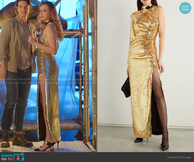 One-Sleeve Bead-Embellished Sequinned Organza Gown by Dundas worn by Kirby Anders (Maddison Brown) on Dynasty