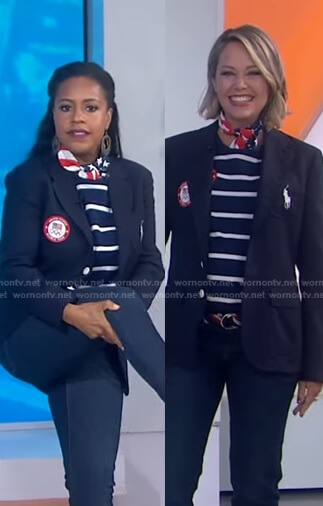 Sheinelle and Dylan's navy striped top and blazer on Today