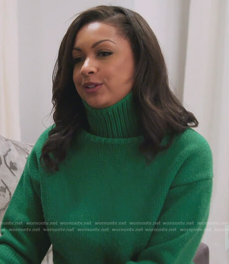 Ebony's green turtleneck sweater on The Real Housewives of New York City