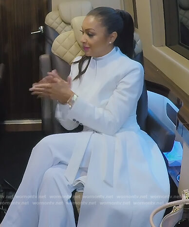Eboni's white tie waist coat on The Real Housewives of New York City