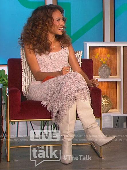 Elaine's marled fringe dress on The Talk