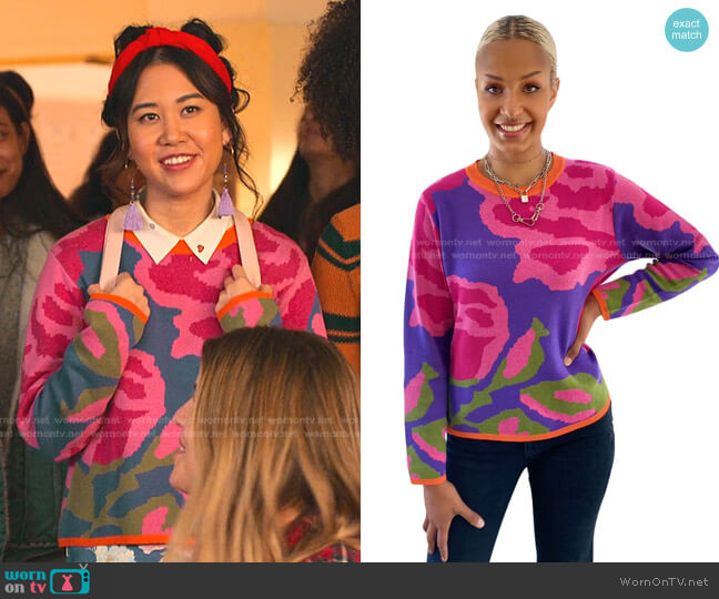 Purple Summer Sweater by Elana Carello worn by Eleanor Wong (Ramona Young) on Never Have I Ever
