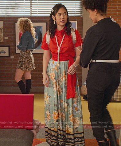 Fabiola's red tie waist blouse and printed skirt on Never Have I Ever
