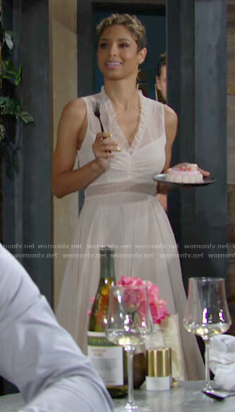Elena's beige dotted v-neck dress on The Young and the Restless