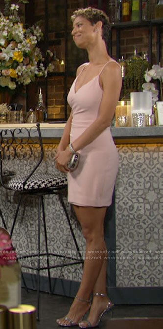 Elena's blush pink mini dress on The Young and the Restless