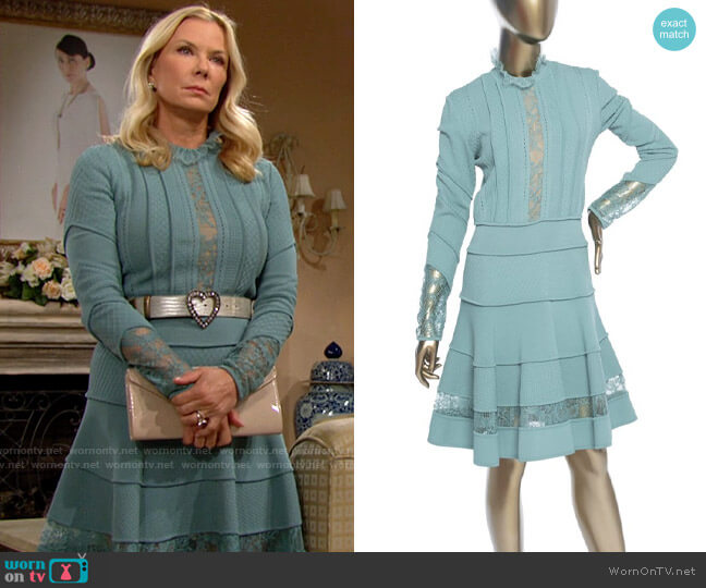 Elie Saab Lace Trimmed Knitted Dress  worn by Brooke Logan (Katherine Kelly Lang) on The Bold & the Beautiful
