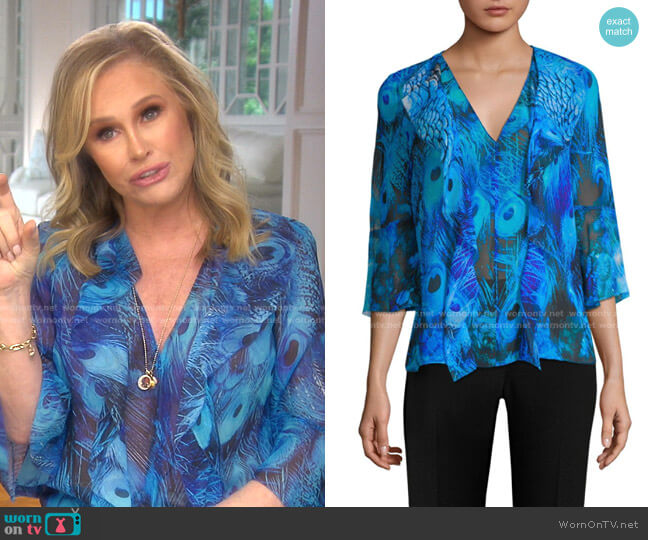 Faith Peacock-Print Blouse by Elie Tahari worn by Kathy Hilton  on The Real Housewives of Beverly Hills