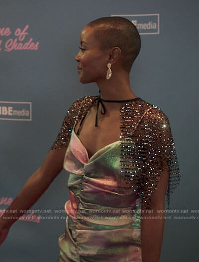 Ella's metallic ruched dress on Run the World