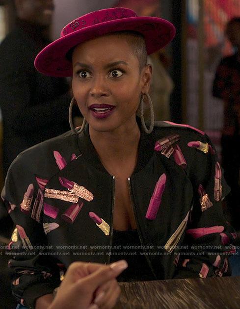 Ella's lipstick bomber jacket on Run the World