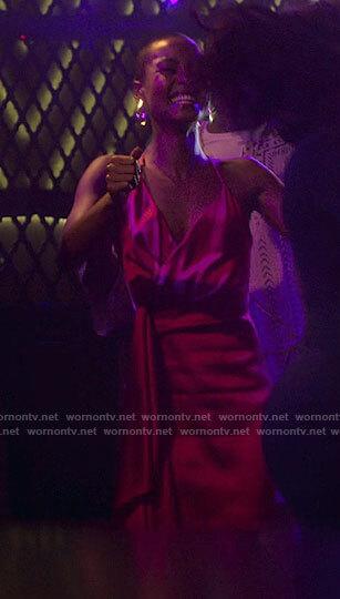 Ella's pink satin tie waist dress on Run the World