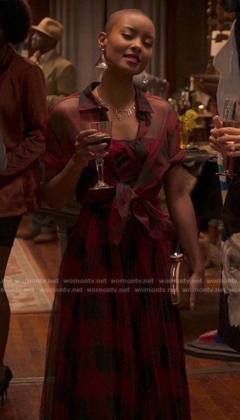 Ella's red checked dress on Run the World