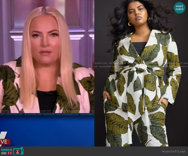 Belted Linen Blazer with Tie by Eloquii worn by Meghan McCain  on The View