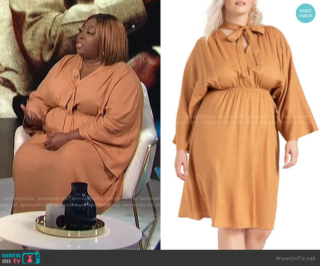 Tie Neck Long Sleeve Dress by Eloquii worn by Loni Love  on E! News