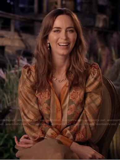 Emily Blunt's orange floral plaid blouse on Live with Kelly and Ryan